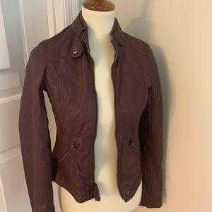 Hollister maroon vegan leather Moto jacket